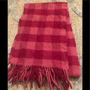 Pink Checkered LLBean wool scarf